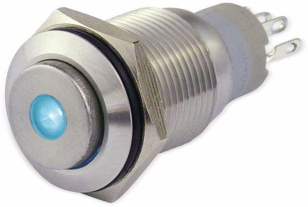 Metalltaster 16 mm mit LED Punktbel. blau, 1 x UM, 250 V~, 3 A - Produktbild 1