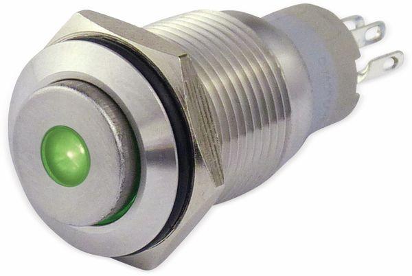 Metalltaster 16 mm mit LED Punktbel. grün, 1 x UM, 250 V~, 3 A