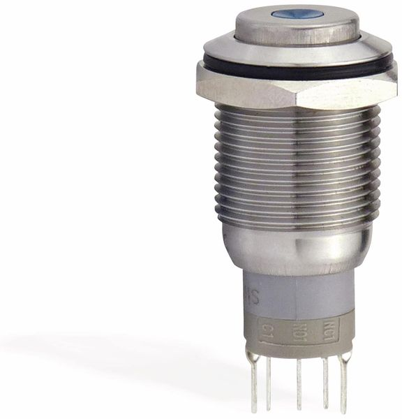Metalltaster 16 mm mit LED Punktbel. grün, 1 x UM, 250 V~, 3 A - Produktbild 2
