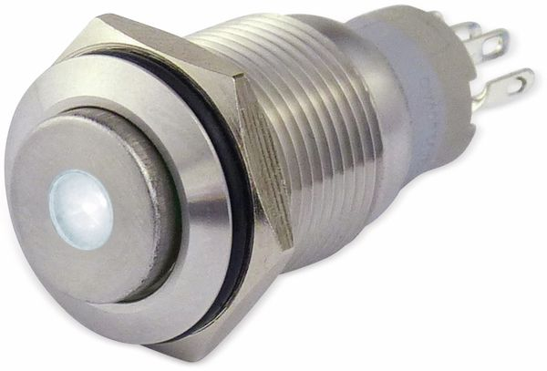Metallschalter 16 mm mit LED Punktbel. weiss, 1 x UM, 250 V~, 3 A