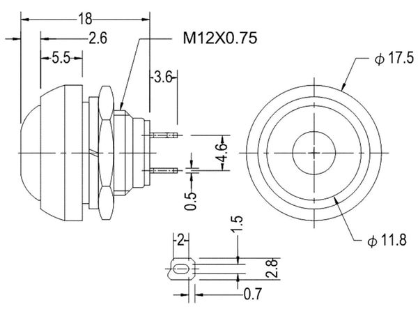 Drucktaster rot Ø 17,5mm, 36V/1A, 1-polig, Schließer, Lötanschluss - Produktbild 3