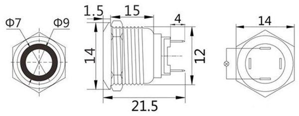 LED-Drucktaster, Ringbeleuchtung rot 12 V, Ø12 mm, 2 A/48 V - Produktbild 2