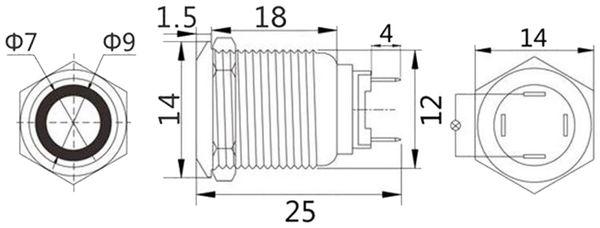 LED-Druckschalter, Ringbeleuchtung rot 12 V, Ø12 mm, 2 A/48 V - Produktbild 2