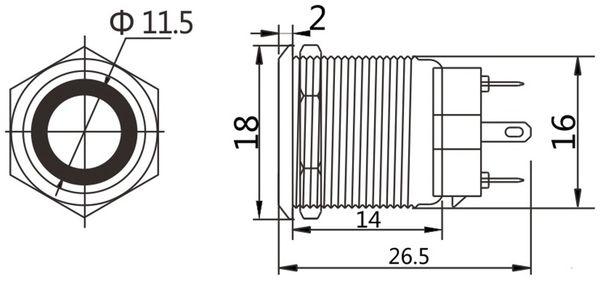 LED-Drucktaster, Ringbeleuchtung weiß 12 V, Ø16 mm, 5 A/48 V - Produktbild 2