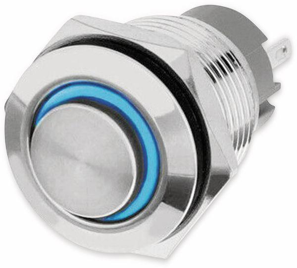 LED-Drucktaster, Ringbeleuchtung blau 12 V, Ø16 mm, 5 A/48 V