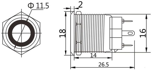 LED-Drucktaster, Ringbeleuchtung blau 12 V, Ø16 mm, 5 A/48 V - Produktbild 2