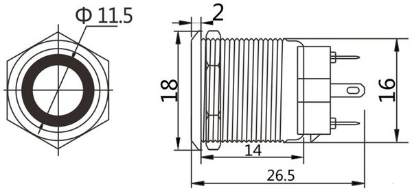 LED-Druckschalter, Ringbeleuchtung rot 12 V, Ø16 mm, 5 A/48 V - Produktbild 2