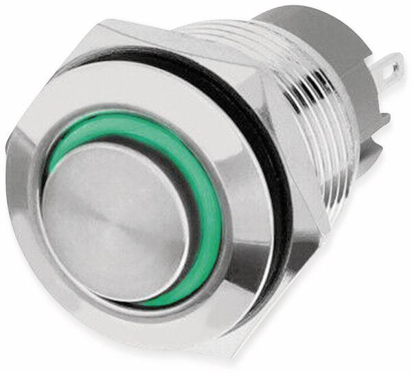 LED-Druckschalter, Ringbeleuchtung grün 12 V, Ø16 mm, 5 A/48 V