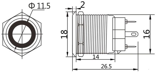 LED-Druckschalter, Ringbeleuchtung orange 12 V, Ø16 mm, 5 A/48 V - Produktbild 2