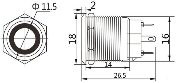 LED-Druckschalter, Ringbeleuchtung weiß 12 V, Ø16 mm, 5 A/48 V - Produktbild 2
