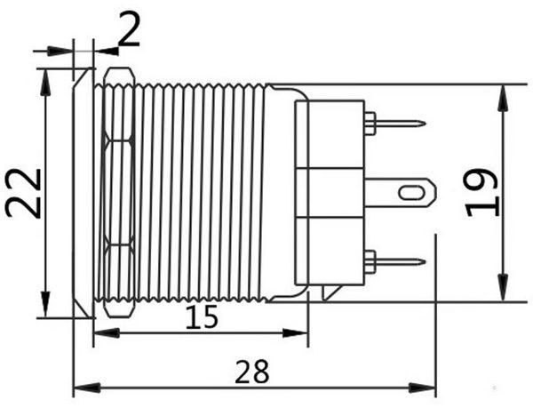 Druckschalter, Ø19 mm, 5 A/48 V - Produktbild 2