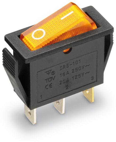 Wippenschalter 1-pol., I-0, gelb beleuchtet, 27x10,5 mm
