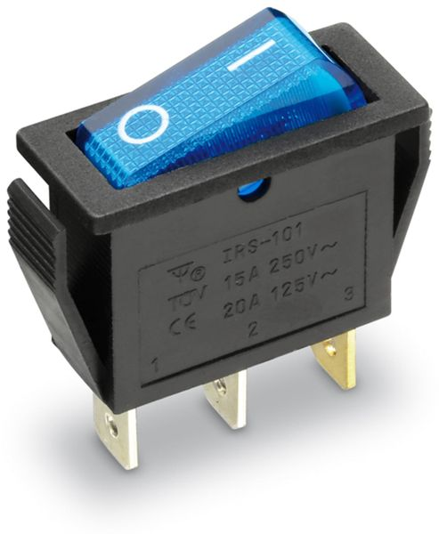 Wippenschalter 1-pol., I-0, blau beleuchtet, 27x10,5 mm