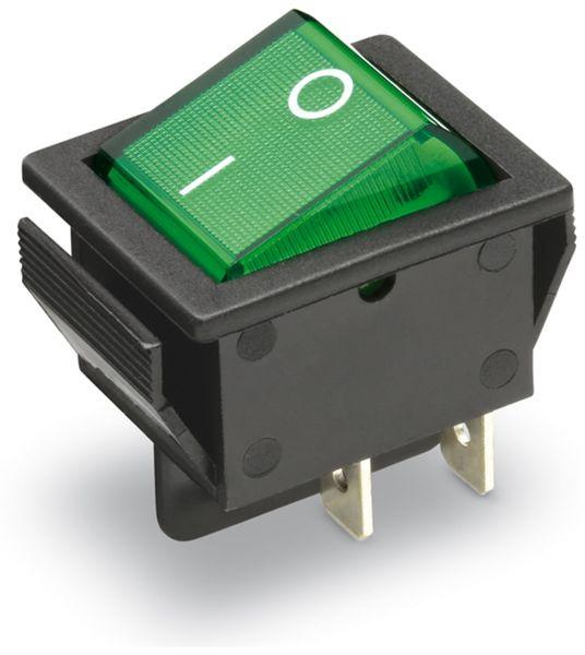 Wippenschalter 2-pol., I-0, grün beleuchtet, 26x22 mm