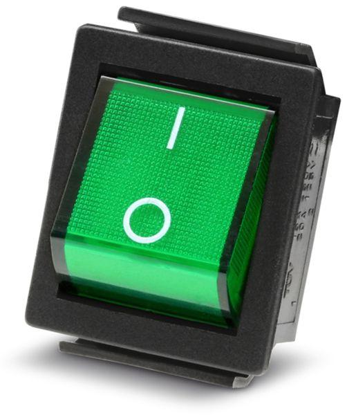 Wippenschalter 2-pol., I-0, grün beleuchtet, 26x22 mm - Produktbild 2