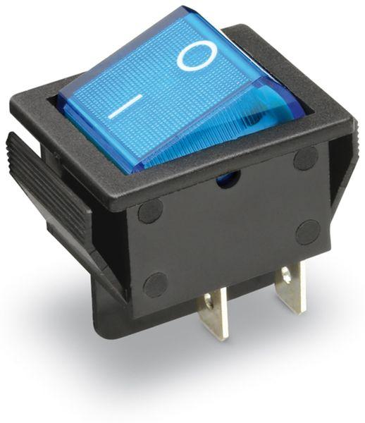 Wippenschalter 2-pol., I-0, blau beleuchtet, 26x22 mm