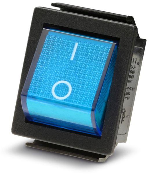 Wippenschalter 2-pol., I-0, blau beleuchtet, 26x22 mm - Produktbild 2