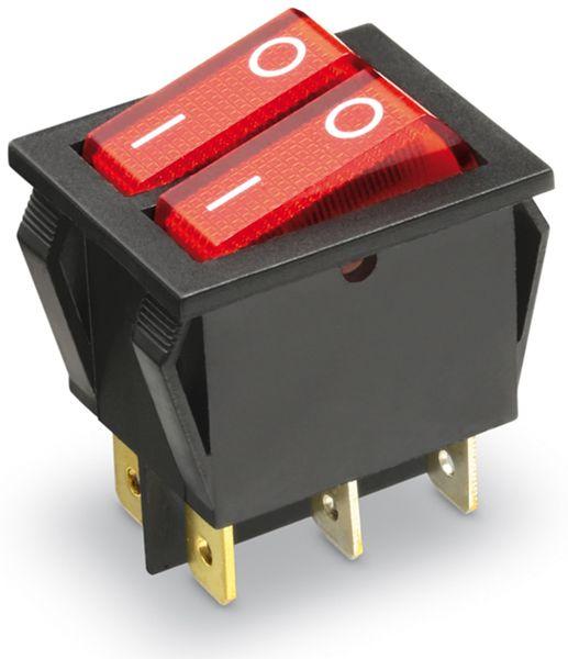 Wippenschalter 2x 1-pol., I-0, rot beleuchtet, 26x22 mm