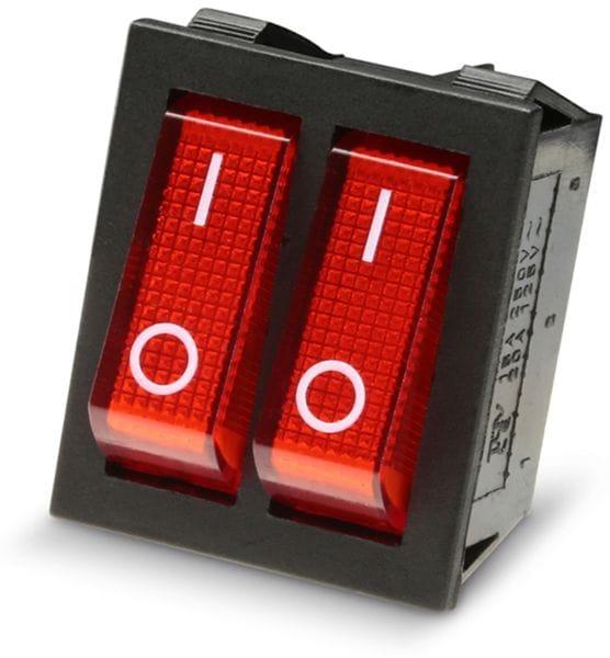Wippenschalter 2x 1-pol., I-0, rot beleuchtet, 26x22 mm - Produktbild 2