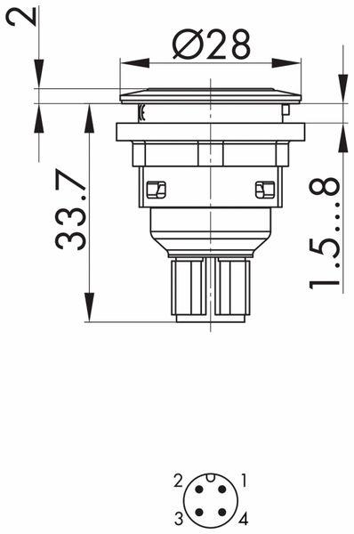 Schlegel, Drucktaster mit Ringbeleuchtung und M12-Anschluss 4-polig; STLRWI_C005 - Produktbild 4