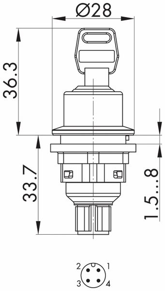 Schlegel, Schlüsseltaster rastend mit M12-Anschluss 4-polig; SVASSA12II_C009 - Produktbild 5