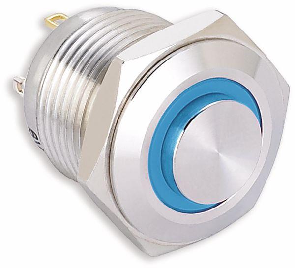 Vandalismusgeschützter Taster, ONPOW, 220 V/AC, 0,5 A, 1NO, blau