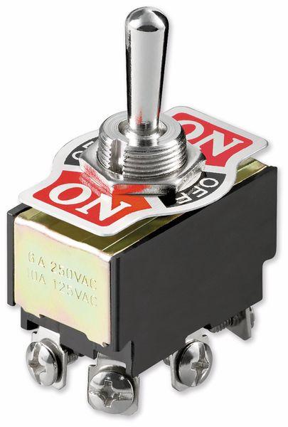 Kippschalter Miniatur, Goobay, 250 V/AC, 6 A, 2 x EIN-AUS-EIN