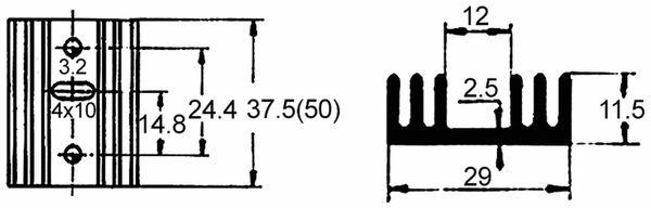 Strangkühlkörper TO 220 9 K/W Aluminium schwarz - Produktbild 2