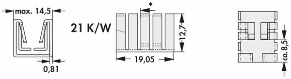 Kühlkörper, Fischer Elektronik, FK 237 SA220 O, Fingerkühlkörper, schwarz, Aluminium - Produktbild 2