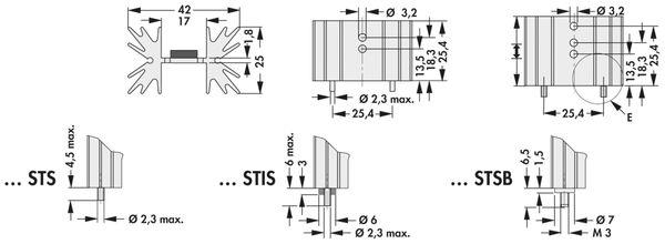 Kühlkörper, Fischer Elektronik, SK 129 38,1 STS, Leiterkartenkühlkörper , schwarz, Aluminium - Produktbild 2