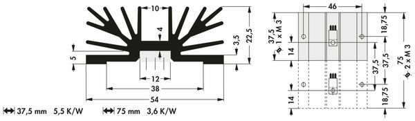 Kühlkörper, Fischer Elektronik, SK 65 37 SA 1 x 3, Profilkühlkörper, schwarz, Aluminium - Produktbild 2