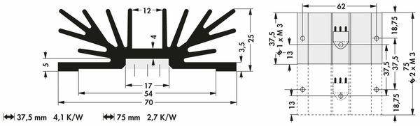 Kühlkörper, Fischer Elektronik, SK 64 37 SA 1 x 3, Profilkühlkörper, schwarz, Aluminium - Produktbild 2