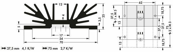 Kühlkörper, Fischer Elektronik, SK 64 75 SA 2 x 3, Profilkühlkörper, schwarz, Aluminium - Produktbild 2