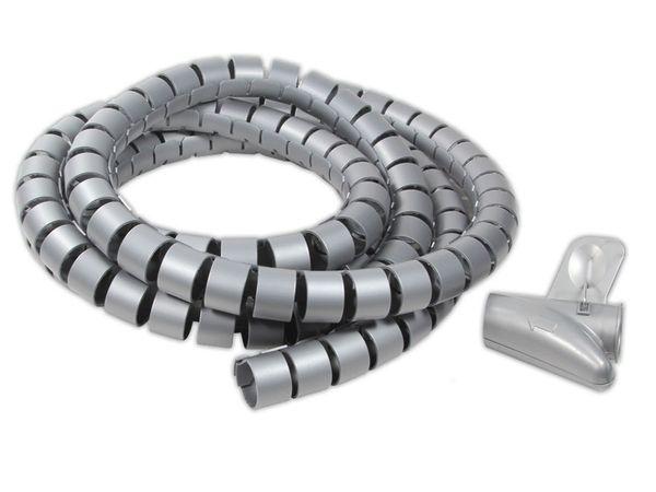 Flexibler Kabelschlauch mit Montagehilfe, 2,5 m, grau