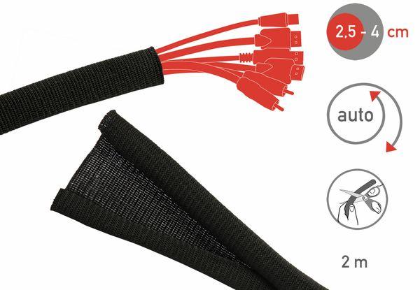 Kabel-Schlauch LTC CABLE TUBE, 2m, schwarz - Produktbild 2