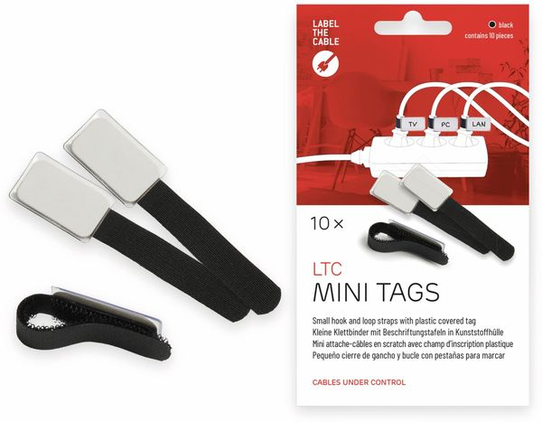 Klett-Kabelbinder LTC MINI TAGS, 10 Stück, schwarz