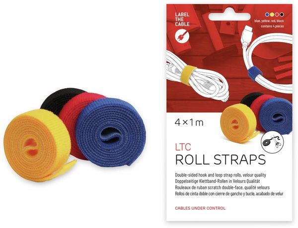 Klett-Rolle LABEL THE CABLE Roll Strap, 4x 100 cm, 16 mm, bunt