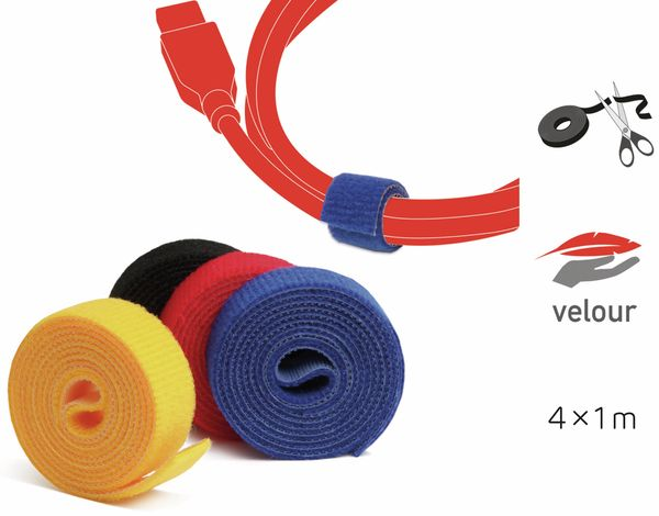 Klett-Rolle LABEL THE CABLE Roll Strap, 4x 100 cm, 16 mm, bunt - Produktbild 2