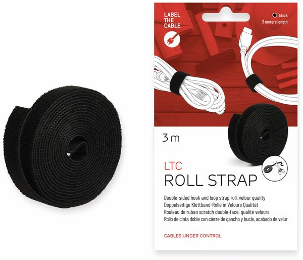 Klett-Rolle LABEL THE CABLE Roll Strap, 3 m, 16 mm, schwarz