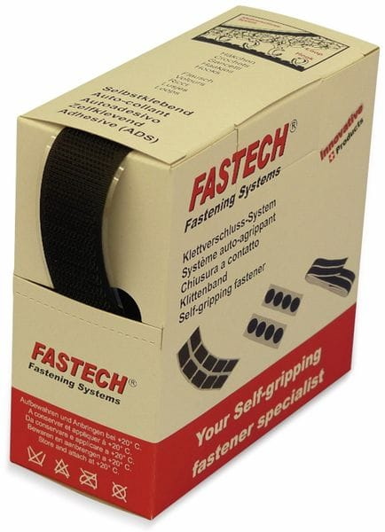 Klettband zum Aufkleben, FASTECH, Hotmelt Haftteil (L x B) 5000 mm x 25 mm Schwarz