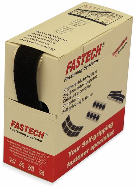 Klettband zum Aufkleben, FASTECH, Hotmelt Flauschteil (L x B) 5000 mm x 25 mm Schwarz