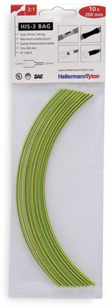 Warmschrumpfschlauch, HellermannTyton, 308-30165, 3:1 HIS-3 BAG 1,5/0,5 grün-gelb 1 TTE = 10 á20cm