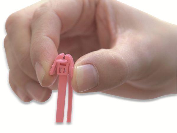 Kabelbinder lösbar, HellermannTyton, 115-00147, 200x4, pink, 100 Stück - Produktbild 4