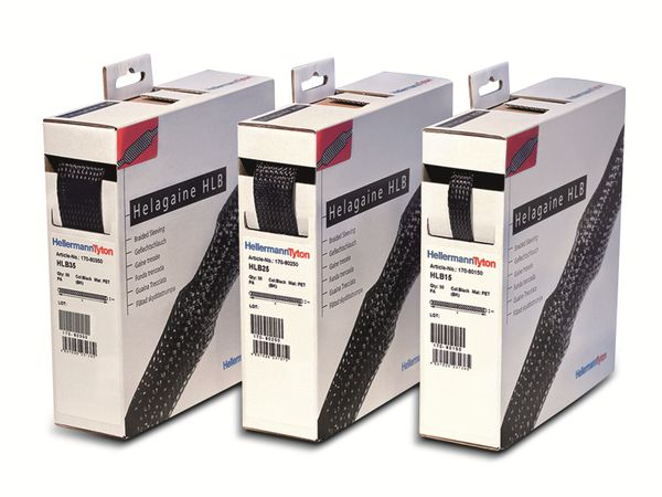 Geflechtschlauch, HellermannTyton, aufweitbar, 170-80250, HLB25-PET-BK, schwarz,10 Meter, Spenderbox - Produktbild 3