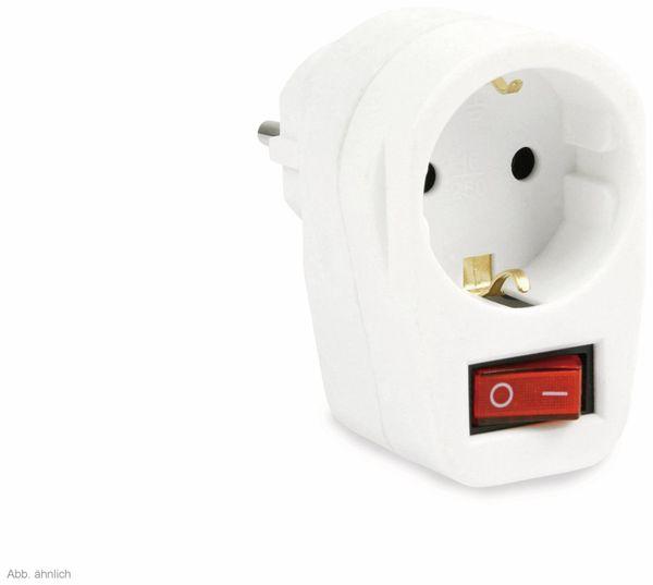 Schutzkontakt-Zwischensteckdose mit Schalter, 16 A, weiß