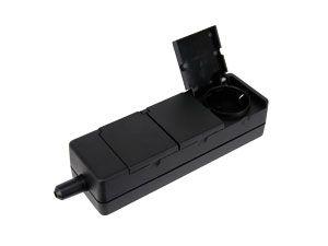 Steckdosenleiste mit Klappdeckel, 3-fach, schwarz - Produktbild 1