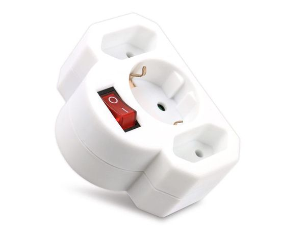 Multisteckdose mit Schalter, horizontal, 16 A, weiß