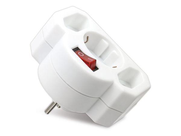 Multisteckdose mit Schalter, horizontal, 16 A, weiß - Produktbild 2