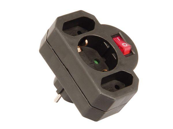 Multisteckdose mit Schalter, horizontal, 16 A, schwarz