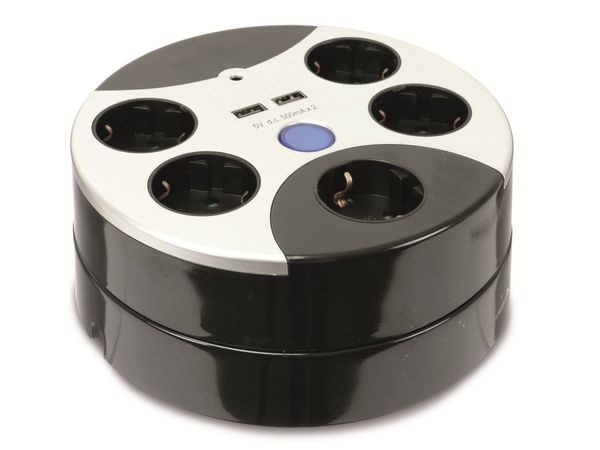 Steckdosencenter DAYHOME SLKU-5/2USB, 5-fach, 2x USB - Produktbild 1